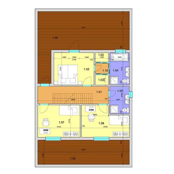 montovany dom modern 103 podorys poschodie Montovaný dom Modern – 103