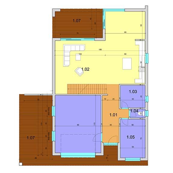 montovany dom modern 103 podorys prizemie Montovaný dom Modern – 103
