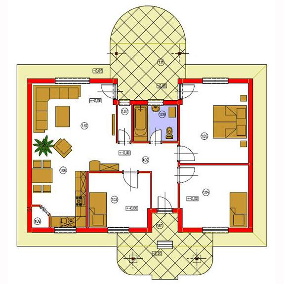 Nizkoenergeticky dom Eco 102 podorys Ecostav Montovaný dom ECO   102