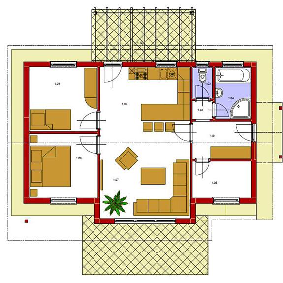Nizkoenergeticky dom Eco 103 podorys Ecostav Montovaný dom ECO   103
