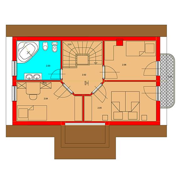 Nizkoenergeticky dom Eco 105 podorys podkrovie Ecostav Montovaný dom ECO   105