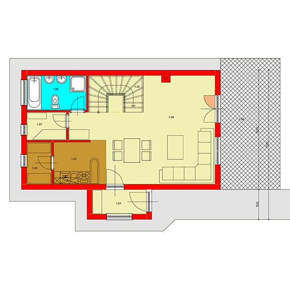 Nizkoenergeticky dom Eco 105 podorys prizemie Ecostav Montovaný dom ECO   105