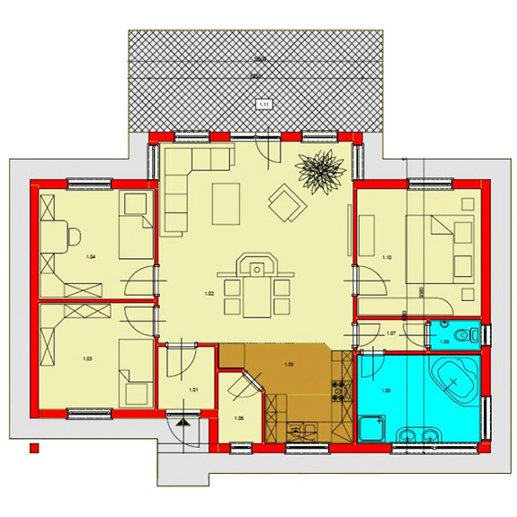 Nizkoenergeticky dom Eco 106 podorys Ecostav Montovaný dom ECO   106