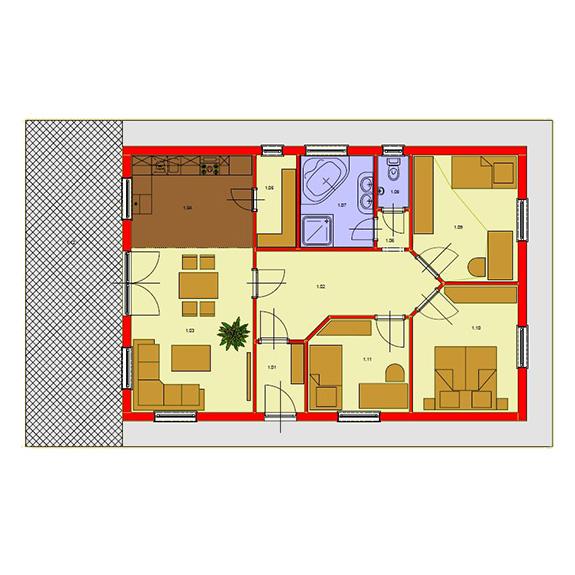 Nizkoenergeticky dom Eco 107 podorys Ecostav Montovaný dom ECO   107