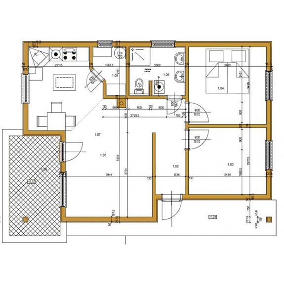 Nizkoenergeticky dom Eco 109 podorys Ecostav Montovaný dom ECO   109