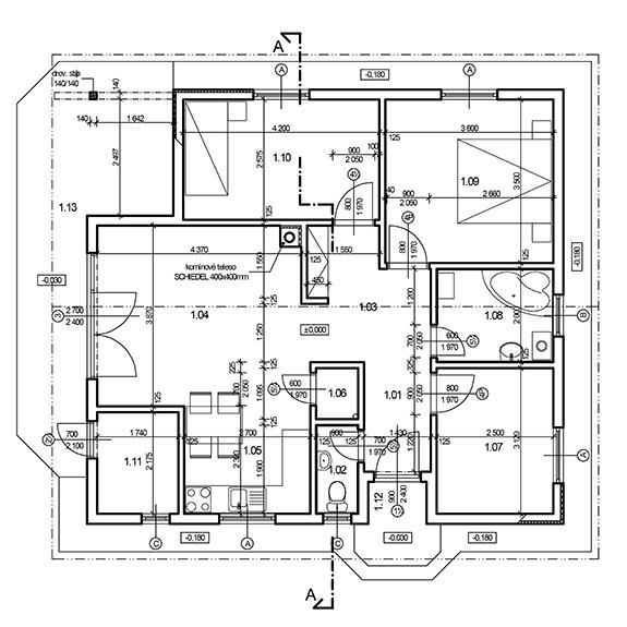Nizkoenergeticky dom Eco 110 podorys a Ecostav Montovaný dom ECO   110
