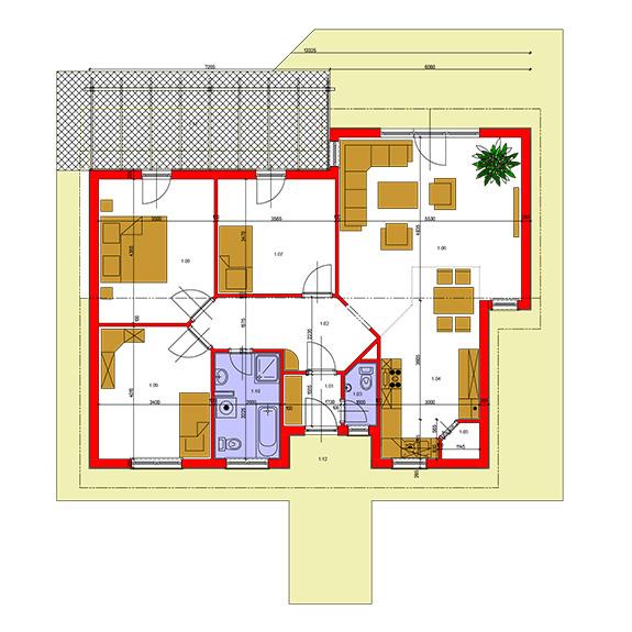 Nizkoenergeticky dom Eco 111 podorys Ecostav Montovaný dom ECO   111
