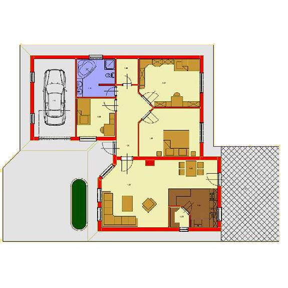 Nizkoenergeticky dom Eco 114 podorys Ecostav Montovaný dom ECO   114