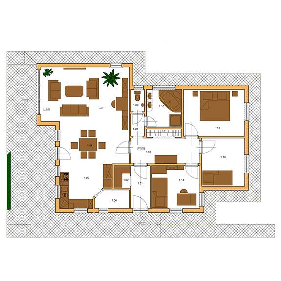 Nizkoenergeticky dom Eco 115 podorys Ecostav Montovaný dom ECO   115