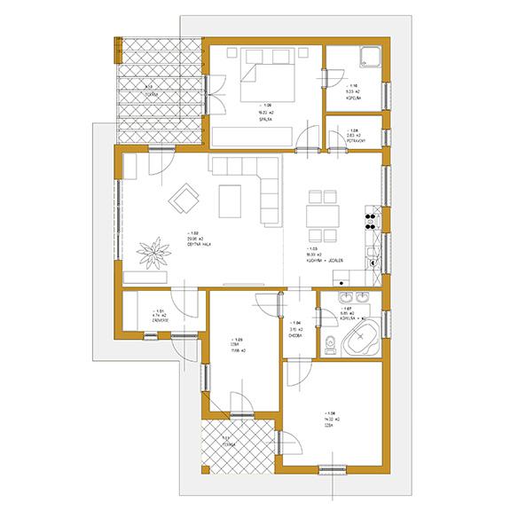 Nizkoenergeticky dom Eco 116 podorys Ecostav Montovaný dom ECO   116