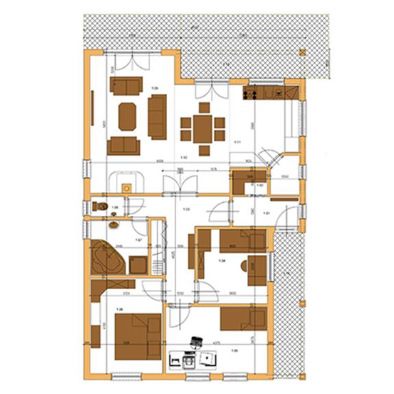 Nizkoenergeticky dom Eco 117 podorys Ecostav Montovaný dom ECO   117