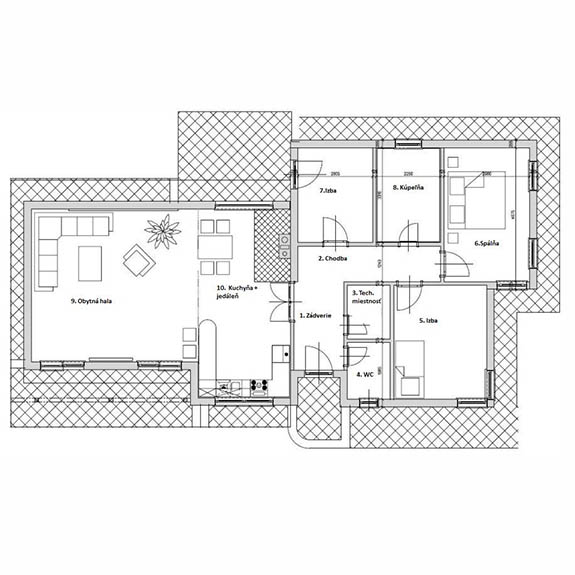 Nizkoenergeticky dom Eco 118 podorys Ecostav a Montovaný dom ECO   118