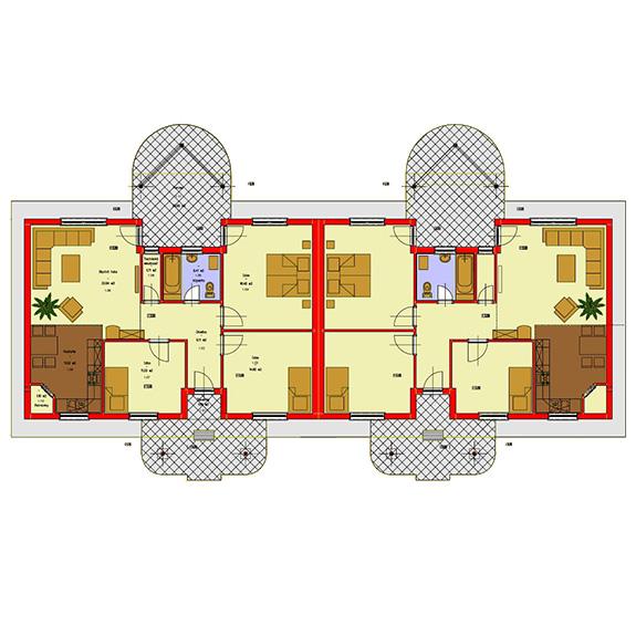 Nizkoenergeticky dom Eco Twin podorys Ecostav Montovaný dom ECO   Twin