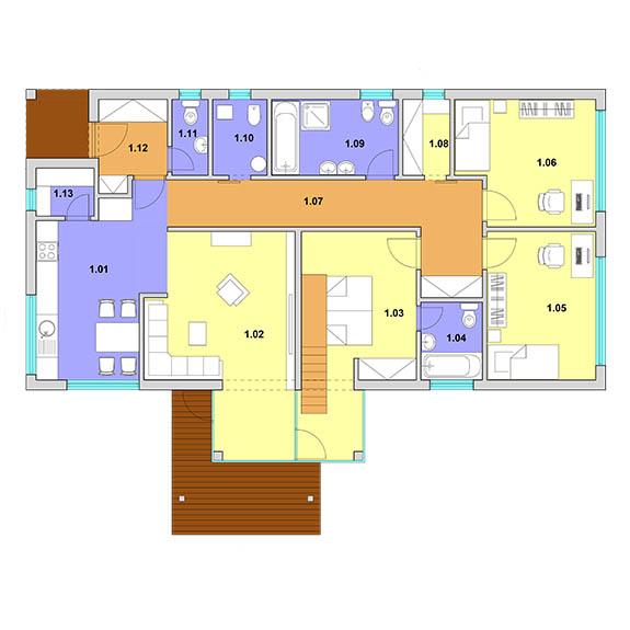 podorys montovany dom modern 101 Montovaný dom Modern   101