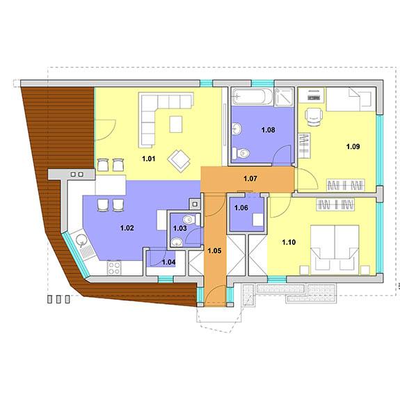 montovany dom modern 102 podorys Montovaný dom Modern   102