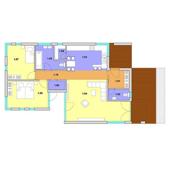 montovany dom modern 104 podorys Montovaný dom Modern – 104
