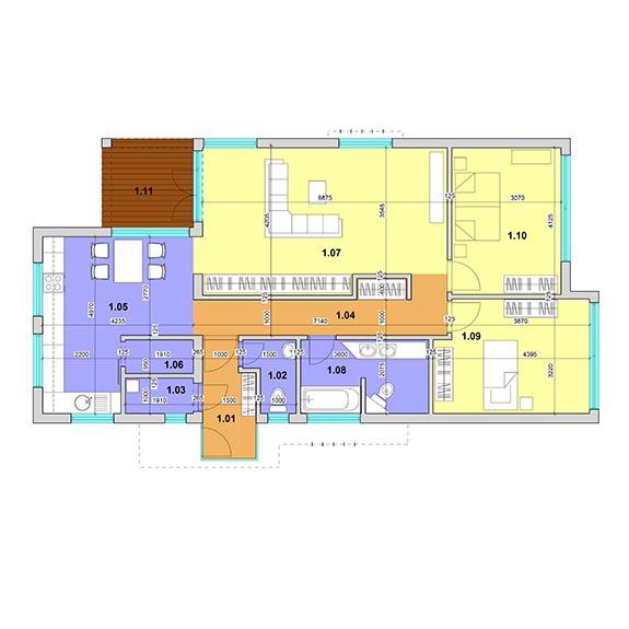 montovany dom modern 105 podorys Montovaný dom Modern – 105