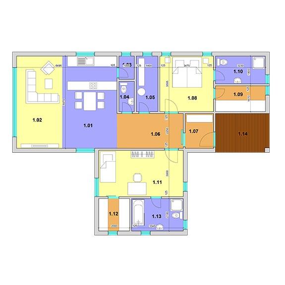 montovany dom eco 122podorys Montovaný dom ECO – 122