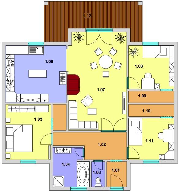 Modern 108 podorys Montovaný dom Modern   108